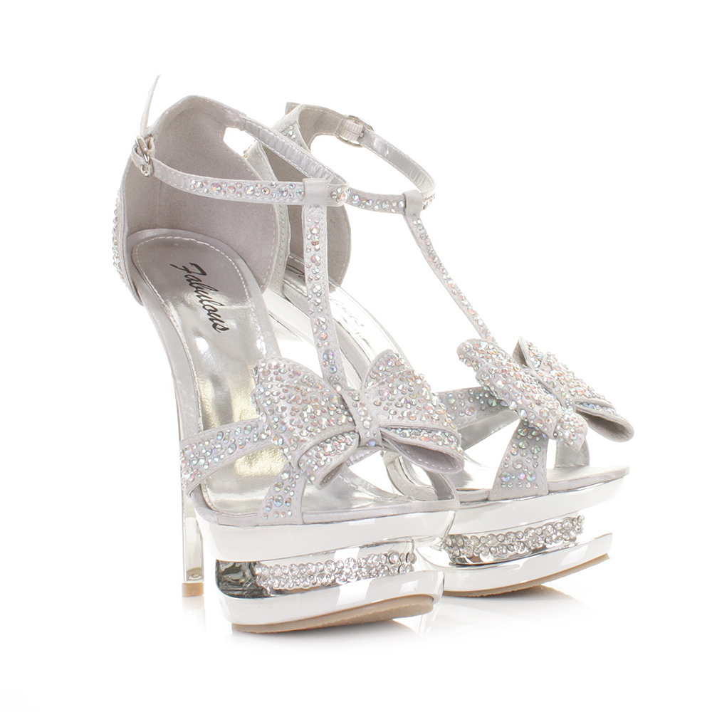 HIGH HEEL PLATFORM STILETTO DIAMANTE SILVER BOW PROM PARTY SHOE ...