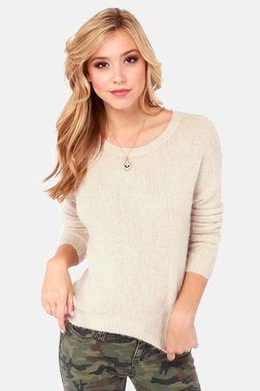 Cute Cream Sweater - High-Low Sweater - Knit Sweater - $63.00