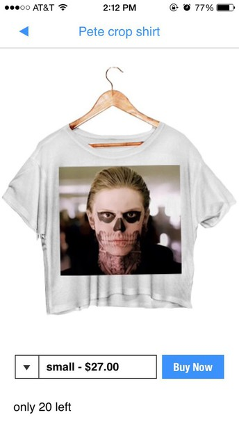 tank top evan peters tate t-shirt white