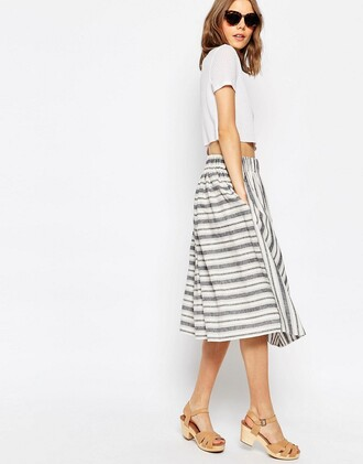 skirt stripes midi skirt summer outfits