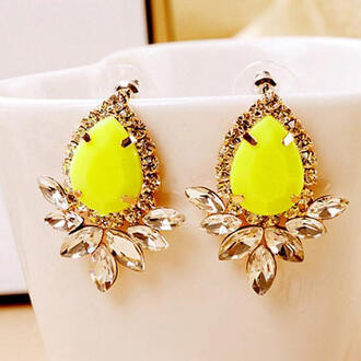 jewels jewelry earrings studs yellow stud earrings yellow earrings stud earrings