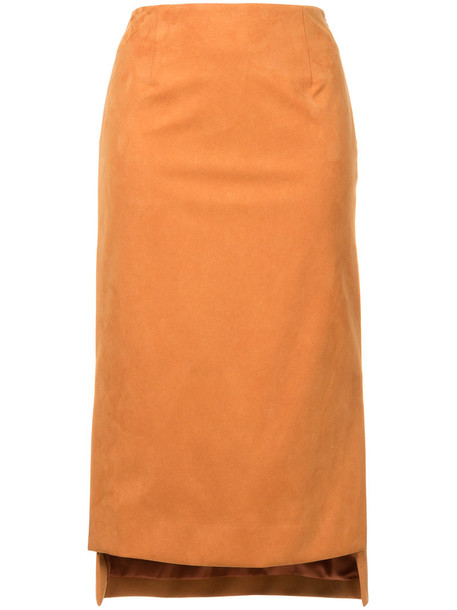 Estnation - high low skirt - women - Artificial Fur - 36, Yellow/Orange, Artificial Fur