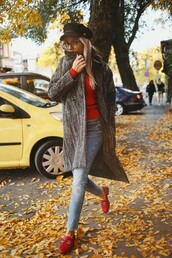 coat,grey coat,tumblr,sweater,red sweater,shoes,red loafers,loafers,jeans,denim,blue jeans,fisherman cap