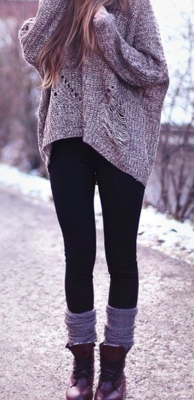 sweater oversized sweater black leggings black leggings boots shirt
