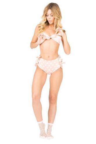 swimwear tie side bikini bottoms cheeky high waisted lolli swimwear peach pink polka dots bikiniluxe