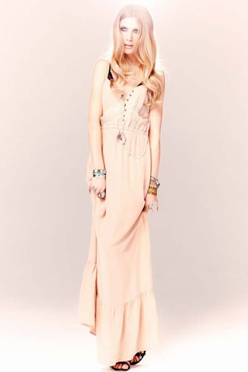 Twelfth street by cynthia vincent ruffle hem maxi dress in blush
