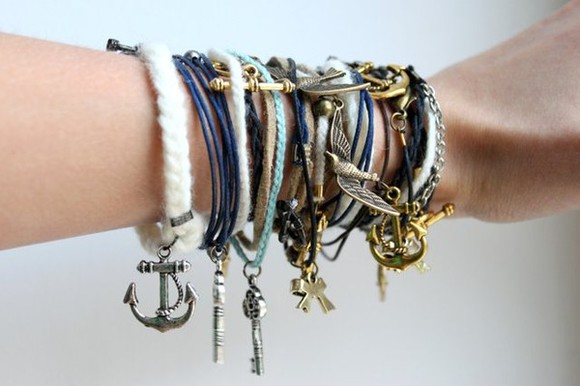 key chain friendship bracelet anchor bows dress