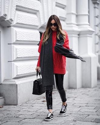 sweater red sweater black pants vinyl scarf knitwear knit knitted sweater pants sneakers black sneakers vans bag