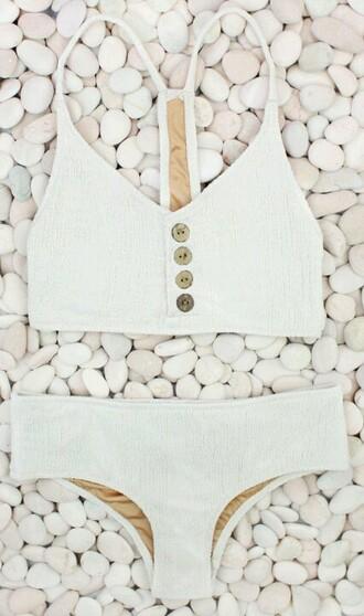 swimwear white buttons buttons on front bikini