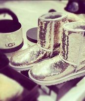 ugg boots,silver boots,silver,silver glitter