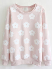 sweater,fashion,style,trendy,pink,floral,cute,girly,long sleeves,flowers,light pink,newchic