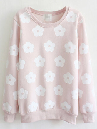 sweater fashion style trendy pink floral cute girly long sleeves flowers light pink newchic