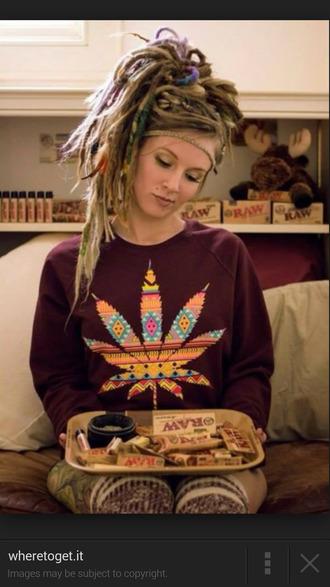 jacket burgundy sweater weed sweater tribal pattern