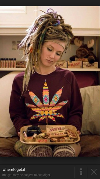 jacket burgundy sweater weed sweater tribal pattern