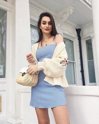 dress mini dress blue dress sweater bag necklace