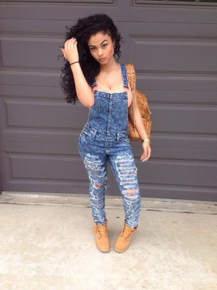 jumpsuit shoes jeans boots dungarees dungarees denim ripped jeans timberlands