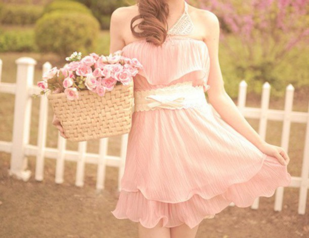 dress kawaii dress pink dress light pink dress flowy dress pink white dress white bow lolita dress sleeveless dress