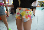 shorts,painting,color/pattern,bright,rainbow,hipster