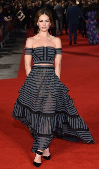 skirt top off the shoulder two piece dress set two-piece pumps lily james red carpet dress bustier stripes