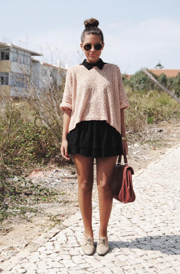 knit beige sweater black dress collar ruffle skirt shoes dress black mini dress pink sweater shirt pink shirt pullover sweater classy hair accessory black www.target.com
