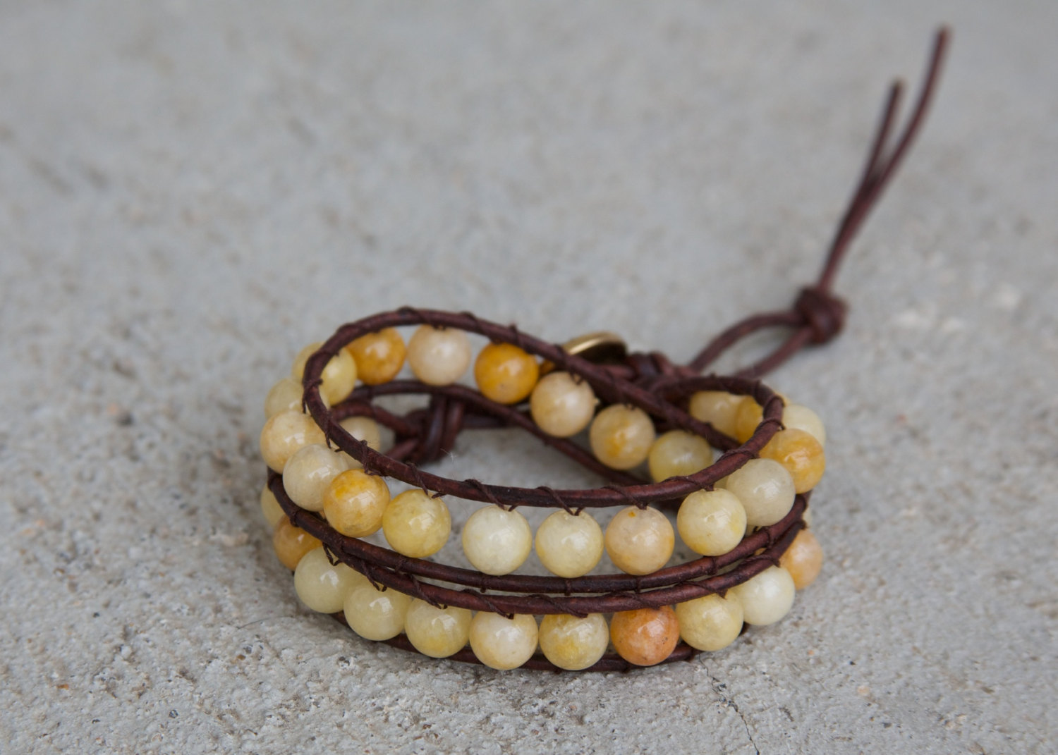 Yellow Leather Wrap Bracelet with yellow beads / Semi Precious Yellow Jade / Natural Brown Leather / eco friendly leather bracelet / boho