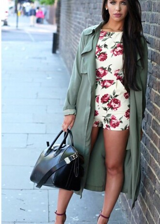 romper fall outfits floral romper floral dress one piece outfit trench coat coat long coat carli bybel green coat floral brunette leather classy heels straps marroon
