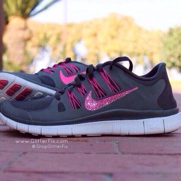 56d5e37e91e9 shoes nike air nike sports shoes hot pink rhinestones black nike free run  nike air max