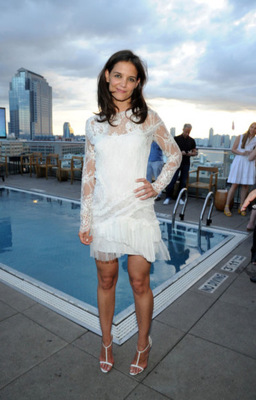 dress lace dress katie holmes white dress