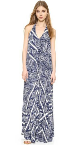 maxi scarf white blue paisley