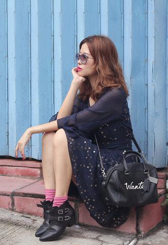 mellow mayo blogger sunglasses dress bag socks shoes