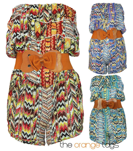 jumpsuit retro vintage festival coachella fashion romper all in one onesie belted belt bow bows shorts top strapless green blue orange cute sexy summer spring instant outfit celebrity aztec bandeau top