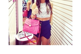 top crop tops girly cute top blue skirt shorts style fashion bag