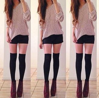 sweater black shorts shoes