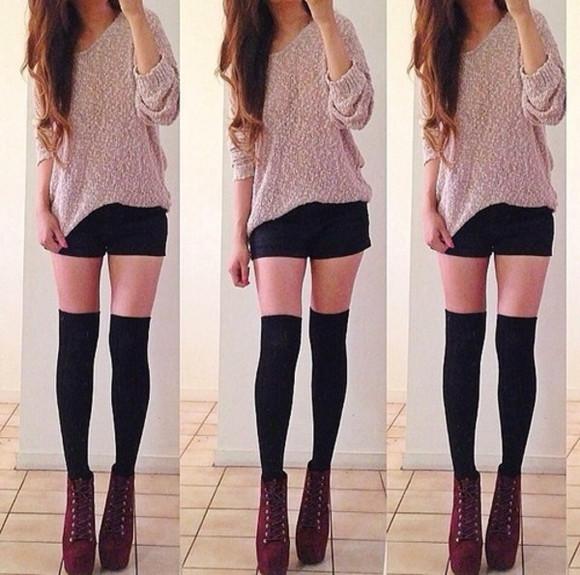 shoes black shorts sweater