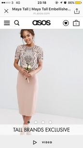 dress,embroidered,embroidered dress,graduation dress,wedding clothes,peach dress,asos dress