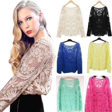 Women's Semi Sexy Sheer Sleeve Embroidery Floral Lace Crochet Tee T Shirt Top T shirt free shipping 9015 Retro Plus Size Clothes-in Blouses & Shirts from Apparel & Accessories on Aliexpress.com