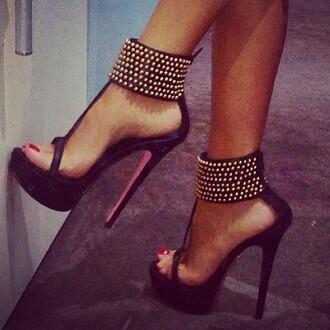 shoes black high heels gold pearl heels platform shoes peep toe black heels black gold heels studs t strap summer black and gold heels summer shoes