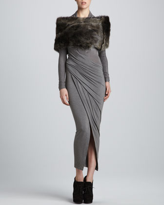 Donna Karan Draped Plunging-Neck Dress & Shearling Tube Collar - Neiman Marcus