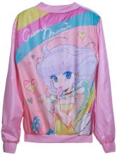 Pink Long Sleeve Cartoon Heart Print Jacket - Sheinside.com