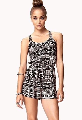 swimwear romper aztec pattern outfit cute black brown white