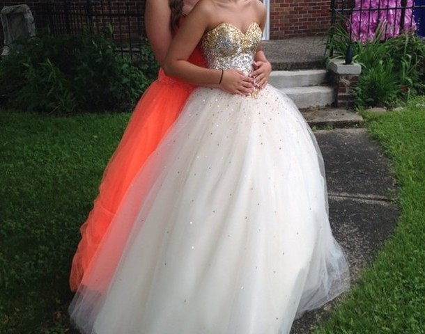 dress white and gold prom dress