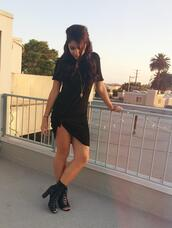 shoes,heels,jewels,black dress,andrea russett,youtuber,black,little black boots,dress