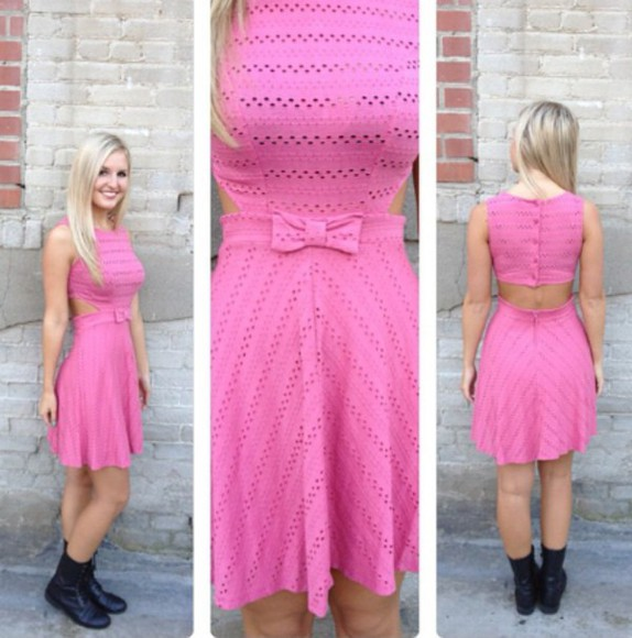 pink dress cute dress backless