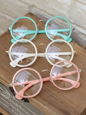 sunglasses girly round accessories glasses hipster wishlist cute nerdie nerd pink beige blue mint vintage hippie round sunglasses round frame glasses pastel clear glasses eyeglasses white
