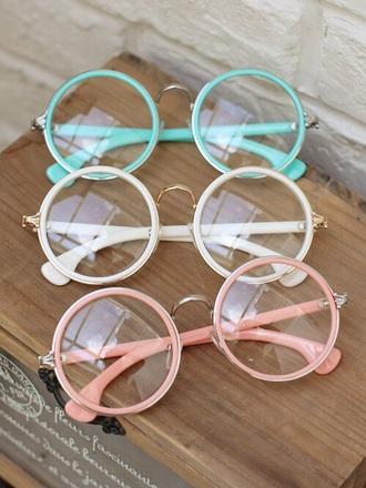 sunglasses girly round accessories glasses hipster wishlist cute nerdie nerd pink beige blue mint vintage hippie round sunglasses round frame glasses pastel clear glasses eyeglasses white
