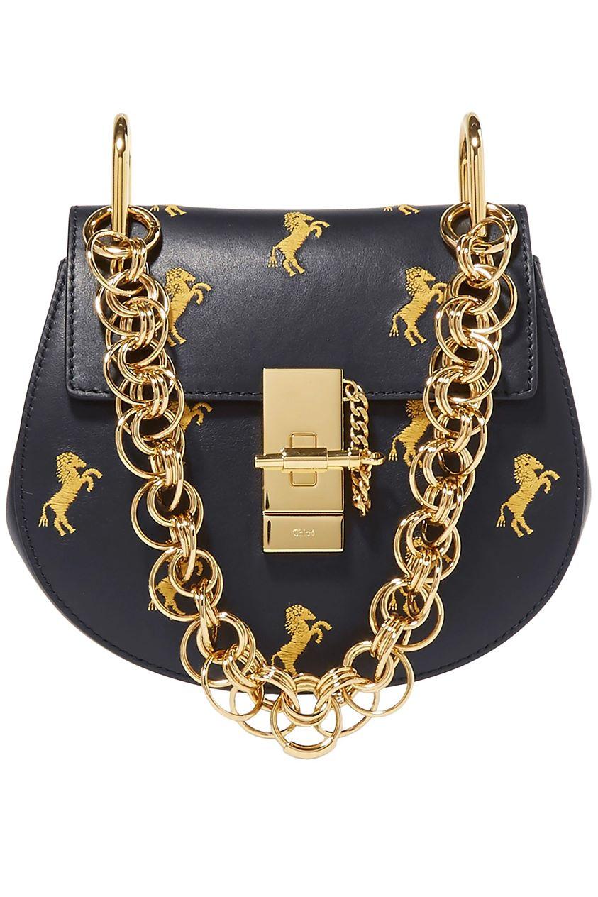 Chloé Woman Drew Bijou Mini Embroidered Leather Shoulder Bag Midnight Blue Size --