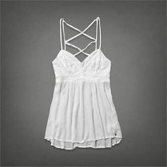 blouse abercrombie & fitch white top cami flower shirt tank top a&f cross back top white blouse white tank top