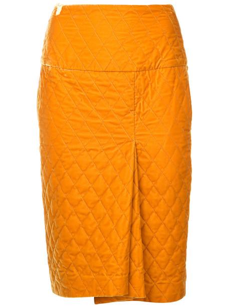 08Sircus skirt pencil skirt women quilted yellow orange