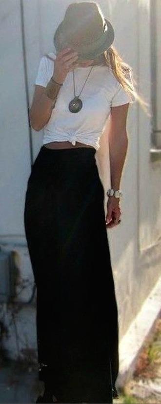 shirt white necklace black maxi skirt
