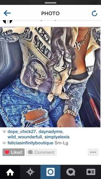 blouse t-shirt dope swag top jeans jewels